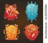 vector set of various heraldic... | Shutterstock .eps vector #613655084