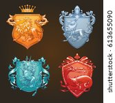 vector set of various heraldic... | Shutterstock .eps vector #613655090