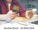 businessman using credit card... | Shutterstock . vector #613661264