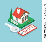 rent house isometric design.... | Shutterstock .eps vector #613662224
