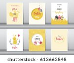set of easter greeting cards... | Shutterstock .eps vector #613662848