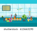 cartoon airport waiting flat... | Shutterstock .eps vector #613663190