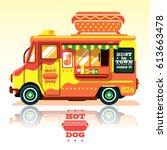 hot dog food truck. street food ...   Shutterstock .eps vector #613663478