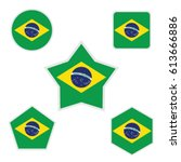 brazil flags with various forms ... | Shutterstock .eps vector #613666886