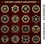 set of gold framed vector... | Shutterstock .eps vector #613668410
