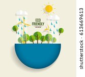 eco friendly. ecology concept... | Shutterstock .eps vector #613669613