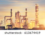 oil refinery factory at... | Shutterstock . vector #613674419