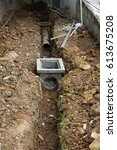 Small photo of Drainage plan,drainage drains,buried sewer,cement pipe,sewage pipe