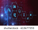 fintech icon  on abstract... | Shutterstock . vector #613677353