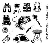 camping set of back pack ... | Shutterstock .eps vector #613678508
