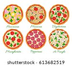 pizza set vector illustration.... | Shutterstock .eps vector #613682519