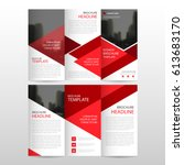 red triangle business trifold... | Shutterstock .eps vector #613683170