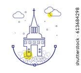 vector church icon   Shutterstock .eps vector #613684298