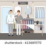 boutique indoor of men's cloths ... | Shutterstock .eps vector #613685570