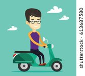 young asian man riding a... | Shutterstock .eps vector #613687580