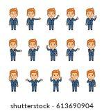 set of diverse chibi man... | Shutterstock .eps vector #613690904