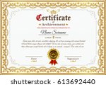 vector certificate template on... | Shutterstock .eps vector #613692440