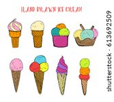 hand drawn ice cream with... | Shutterstock .eps vector #613692509