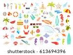 summer stuff set. isolated... | Shutterstock .eps vector #613694396