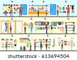 sport store interior.... | Shutterstock .eps vector #613694504