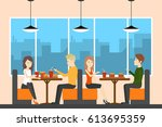 people in fasy food cafe sit... | Shutterstock .eps vector #613695359