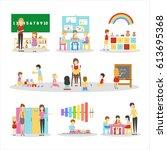 isolated kindergarten set on... | Shutterstock .eps vector #613695368