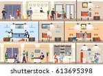 hotel interior set. reception... | Shutterstock .eps vector #613695398
