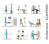 hospital examination set.... | Shutterstock .eps vector #613695404