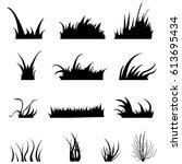 vector set of black grass... | Shutterstock .eps vector #613695434