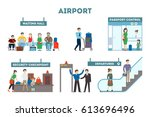 airport interior set. waiting... | Shutterstock .eps vector #613696496
