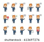 set of chibi man characters...   Shutterstock .eps vector #613697276