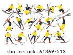 extreme male skiers set on... | Shutterstock . vector #613697513