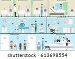 hospital indoors set. operation ... | Shutterstock . vector #613698554