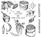 vector food set with cocoa ... | Shutterstock .eps vector #613699763