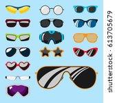 fashion set sunglasses... | Shutterstock .eps vector #613705679