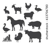 farm animals silhouettes... | Shutterstock .eps vector #613706780