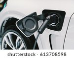 electric vehicle charging... | Shutterstock . vector #613708598