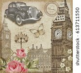 london vintage postcard. | Shutterstock . vector #613711550