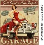 vintage garage retro poster | Shutterstock . vector #613711559