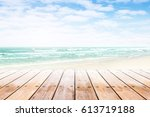 old wood table top on blurred...   Shutterstock . vector #613719188