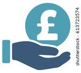pound coin payment hand glyph... | Shutterstock . vector #613723574