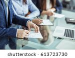 business team is working with... | Shutterstock . vector #613723730