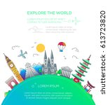 explore the world   vector... | Shutterstock .eps vector #613723820