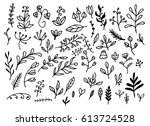 hand drawn laurel wreath and... | Shutterstock .eps vector #613724528