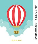 hot air balloon in the sky with ... | Shutterstock .eps vector #613726784