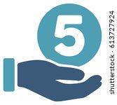 five cents payment hand glyph...   Shutterstock . vector #613727924