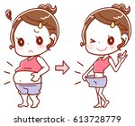 before and after the diet of... | Shutterstock .eps vector #613728779