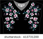 embroidery of ethnic flowers on ... | Shutterstock .eps vector #613731200
