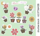 cute flower family cartoon pop... | Shutterstock .eps vector #613736438
