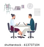 concept for office romance ... | Shutterstock .eps vector #613737104
